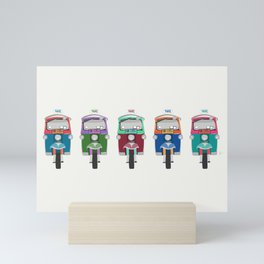 Thailand Tuk Tuks in a Row Pattern Mini Art Print