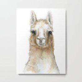 Llama Watercolor Painting Metal Print
