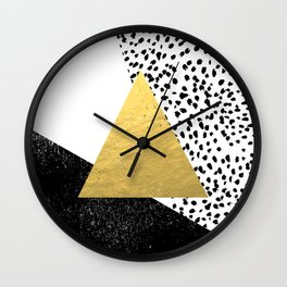Erida - abstract black and white gold triangle painted dots minimalist decor nursery dorm college ar Wall Clock