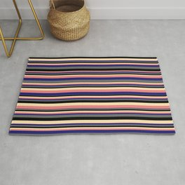 Vibrant Beige, Light Coral, Midnight Blue, Dim Gray, and Black Colored Pattern of Stripes Rug