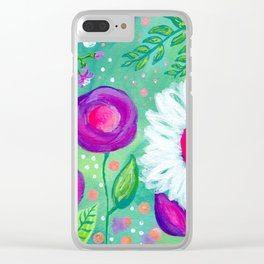 White Flowers, Purple Flowers, Floral Painting for Girl, Nursery Decor, Green, Blue, Coral Art Clear iPhone Case