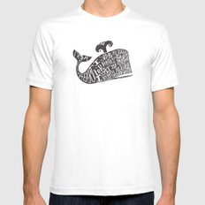 ...YE DAMNED WHALE. MEDIUM White Mens Fitted Tee