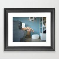 Red Nails Hands in Tension Framed Art Print