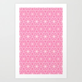 Cute Pink Mandala Circle Pattern Art Print