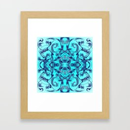 blue Digital pattern with circles and fractals artfully colored design for house and fashion unique Framed Art Print