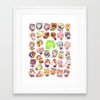 animal crossing Framed Art Prints featuring Animal Crossing New Leaf by Kaiami