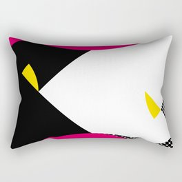 This is atypical. I see a white face with a yellow eye. A Black fish. Mountains. Rectangular Pillow