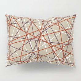 Industrial Urban Metallic Brown & Rustic Mahogany Line Pattern Pillow Sham