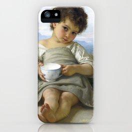 """William-Adolphe Bouguereau """"La tasse de lait (Cup of milk)"""" iPhone Case"""