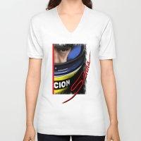 senna V-neck T-shirts featuring Senna Helmet Portrait by Borja Sanz