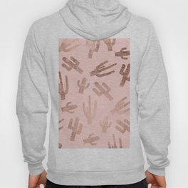 Modern rose gold cactus pattern on blush pink Hoody