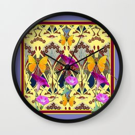 Decorative Cream Color & Fuchsia Morning Glories Floral Yellow Butterflies Wall Clock