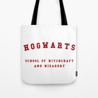 hogwarts Tote Bags featuring Hogwarts by Fabian Bross