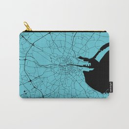 Dublin Ireland Turquoise on Black Street Map Carry-All Pouch