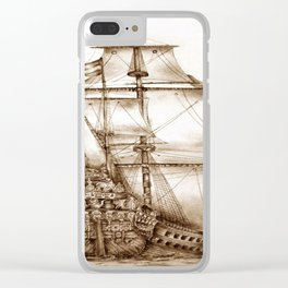 Vintage Drawing Clear iPhone Case