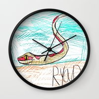 monty python Wall Clocks featuring The Python by Ryan van Gogh