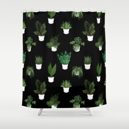 Houseplants Illustration (black background) Shower Curtain