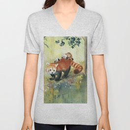 Red Panda Family Unisex V-Neck