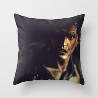 evil dead Throw Pillows featuring Evil Dead 2 - Ash by Sharon Wright