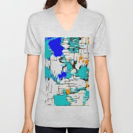 blue green and orange drawing abstract background Unisex V-Neck