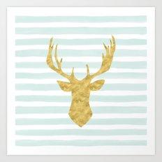 Gold Deer on Mint Watercolor Stripes Art Print
