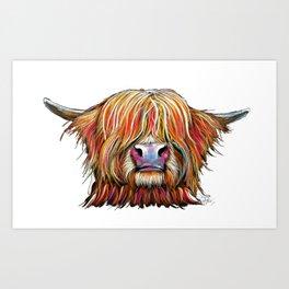 Scottish Highland Cow ' CHARMER oN WHiTe ' by Shirley MacArthur Art Print