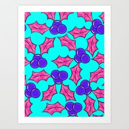 Aussie Christmas Card Set Pink & Aqua Design#6 Holly Leaf Pattern Art Print