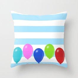 Balloons on striped background Throw Pillow