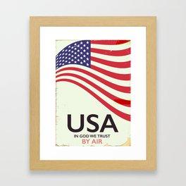 "USA ""By Air"" Vintage poster Framed Art Print"