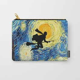 Starry Night Harry Potte with broom Van Gogh Inspired Magic Hogwarts Carry-All Pouch
