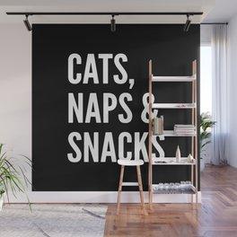 Cats, Naps & Snacks (Black) Wall Mural