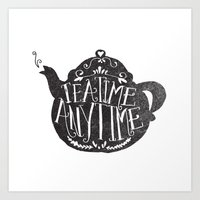 sansa stark Art Prints featuring TEA TIME. ANY TIME. by Matthew Taylor Wilson