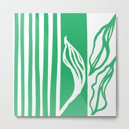 Long Leaf Stripe green Metal Print
