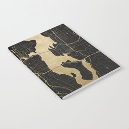 Seattle Black and Gold Map Notebook
