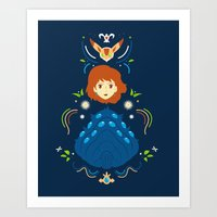 nausicaa Art Prints featuring Wind Valley by Ashley Hay