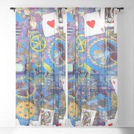 BLUE BOHEMIAN STEAMPUNK MUSICAL CARDS GAME Sheer Curtain