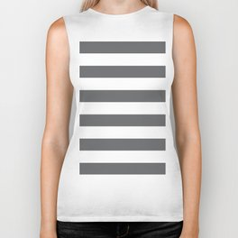 Simply Striped in Storm Gray and White Biker Tank