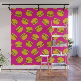 Pink Burger Pattern Wall Mural