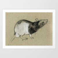 rat Art Prints featuring Rat by Freeminds
