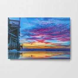 Solstice sunset at Newport Pier Metal Print