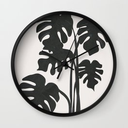 Monstera Line Wall Clock