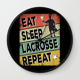 Eat Sleep Lacrosse Repeat Sport Vintage giftidea Wall Clock