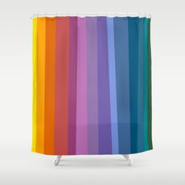 Modern Bright Rainbow Abstract Stripes Shower Curtain