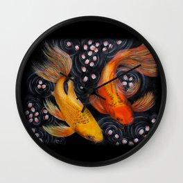 Butterfly Koi (Acrylic painting) Wall Clock