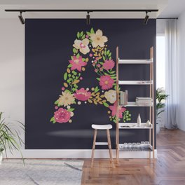 Floral letter A Wall Mural