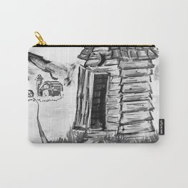 Outhouse, Primitive Art, Black & White Print of Painting by Faye Carry-All Pouch