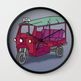 Red tuktuk / autorickshaw Wall Clock