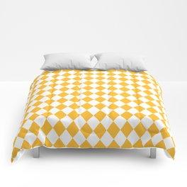 Butter Yellow Modern Diamond Pattern Comforters