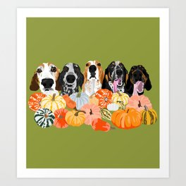 Coonhounds and Gourd Art Print
