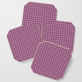 Sugar Plum - violet color - White Lines Grid Pattern Coaster